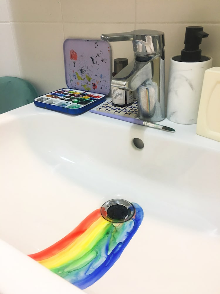 Watercolor Paintings in the Sink by Marta Grossi
