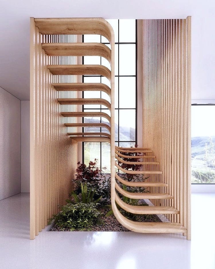 Modern Stair Design Resembles A Strand Of Dna Inside A Home