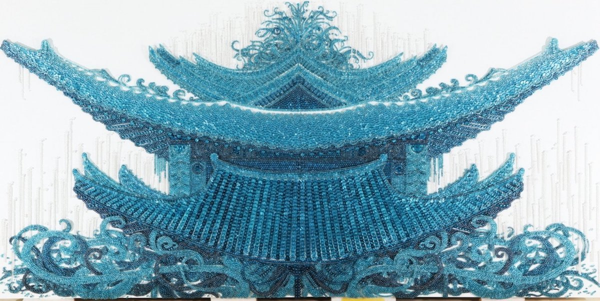 Korean Palace Made of Beads and Buttons by Ran Hwang