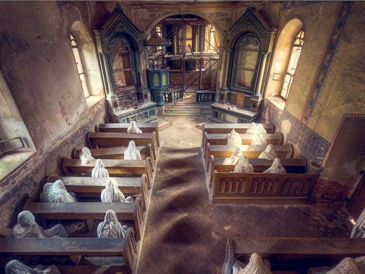 Abandoned Chuch in Portugal Filled with Sculptures