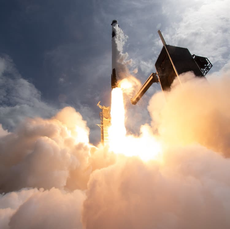 Space X Falcon 9 Rocket Taking Off