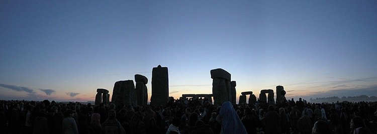 People Celebrate the Summer Solstice at Stonehenge