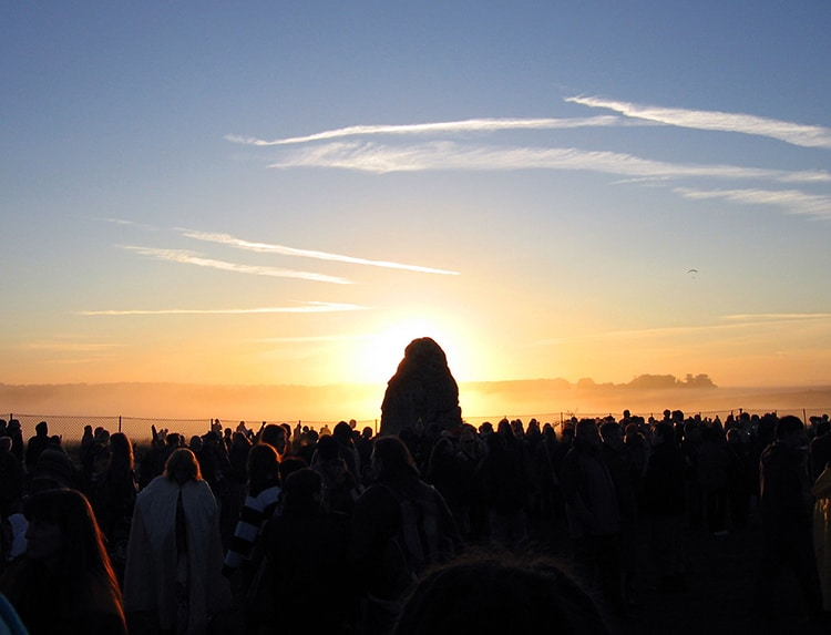 The Summer Solstice Sun Peeks Out from Behind the Heel Stone at Stonehenge