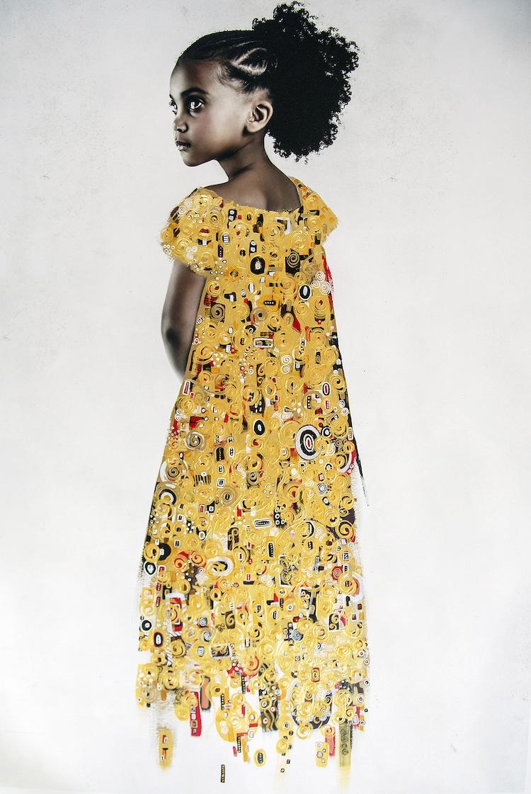 retratos de medios mixtos estilo gustav klimt por Tawny Chatmon
