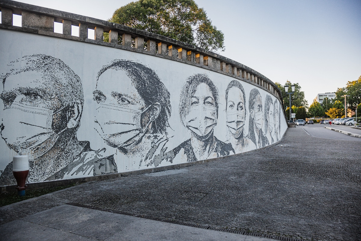 Mural by Vhils at the University Hospital in Porto, Portugal