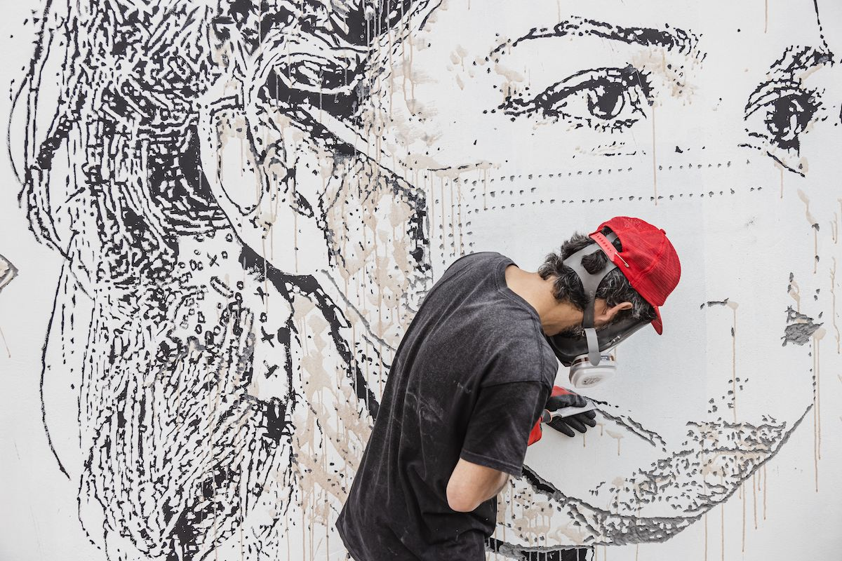 Street Artist Vhils Working on Mural at Porto Hospital
