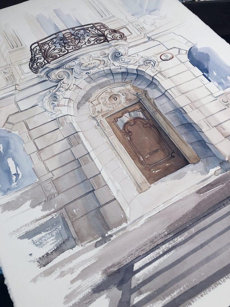 acuarelas de arquitectura europea por Viviene Astakhova