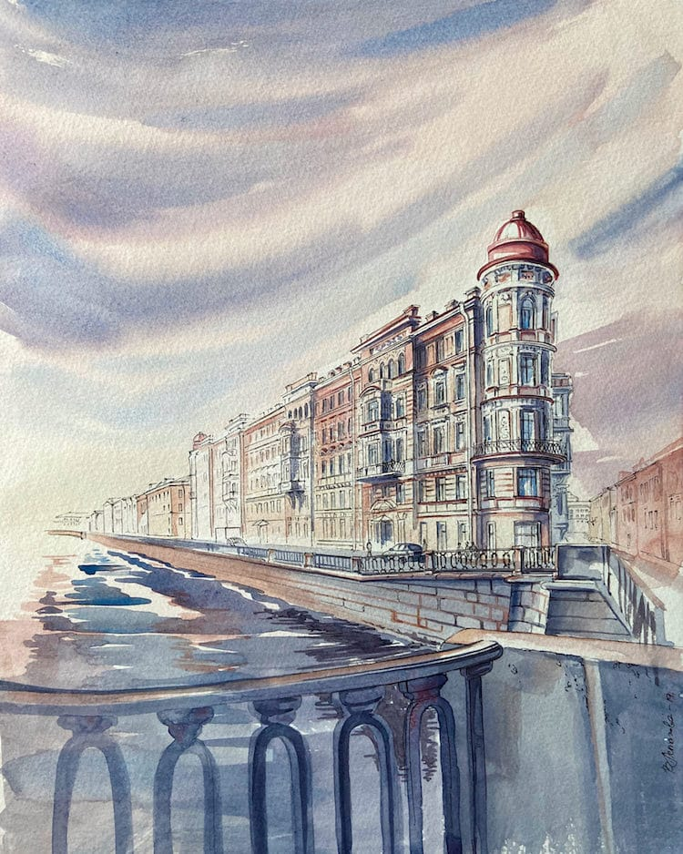 Architecture Watercolor Paintings by Viviene Astakhova