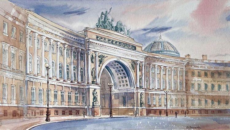 acuarelas de arquitectura europea