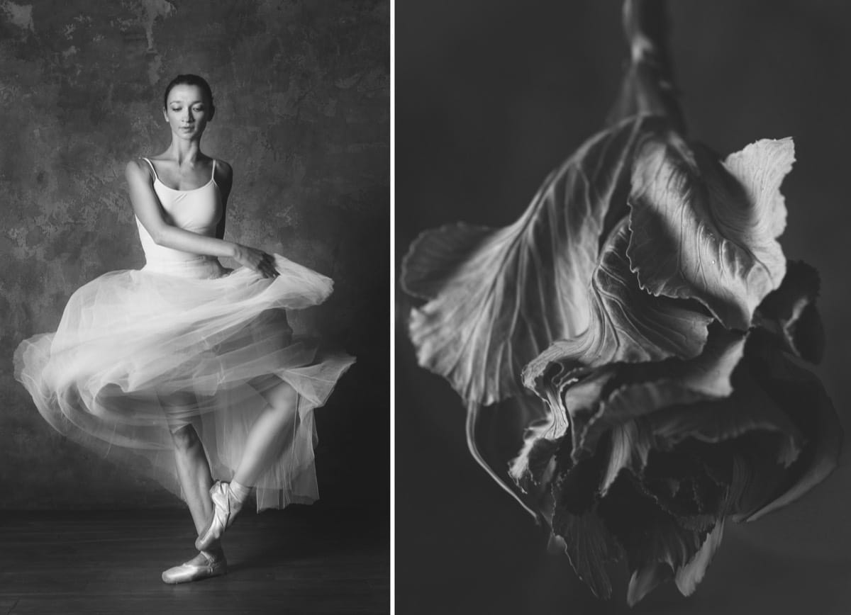 Side by Side Photo of a Ballet Dancer and a Flower