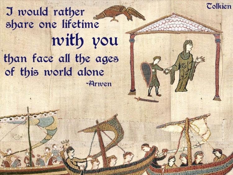imagen de tapiz medieval con frase de Tolkien