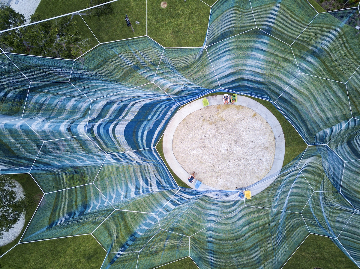 Aerial View of Janet Echelman's Bending Arc in St. Petersburg
