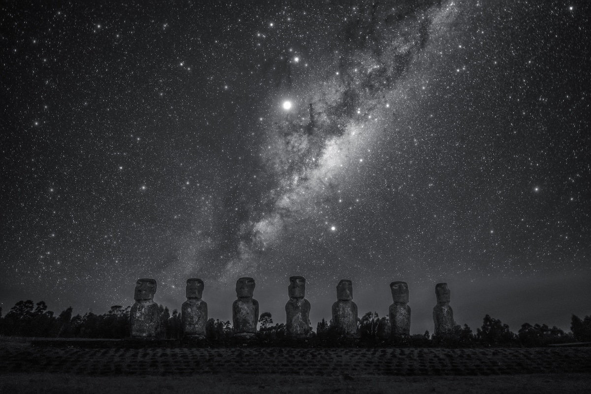 Milky Way rising above the Moai at Ahu Akiv on Easter Island