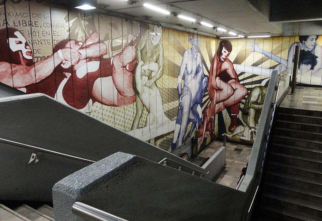 Mural de lucha libre en la estación Guerrero del Metro de la Ciudad de México