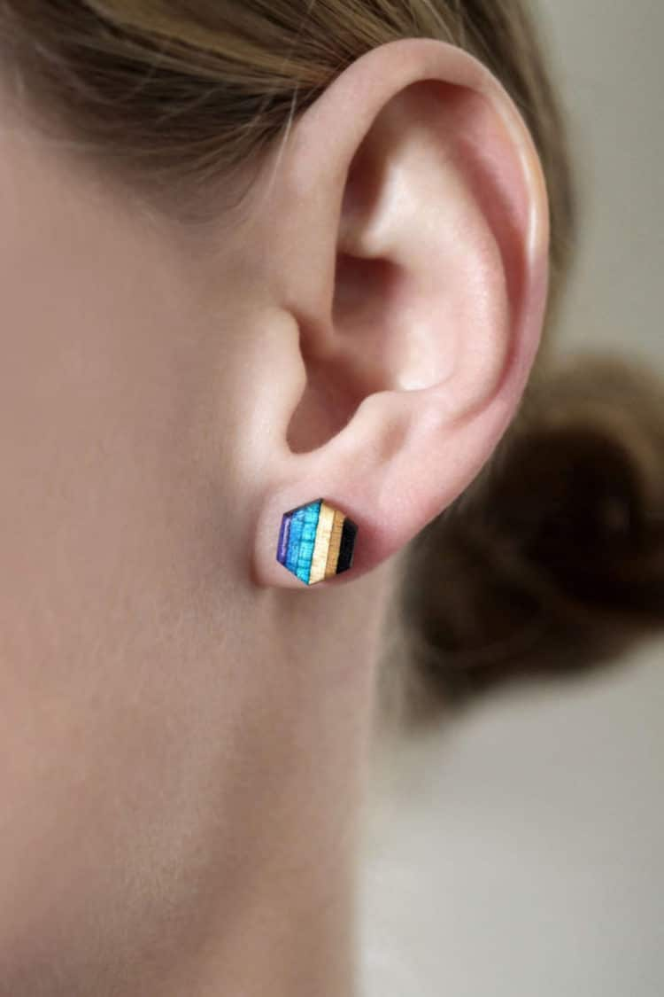 Wooden Earrings Made With Skateboards