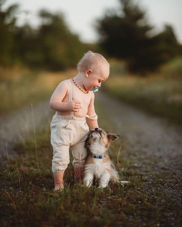 Niños con animales bebés