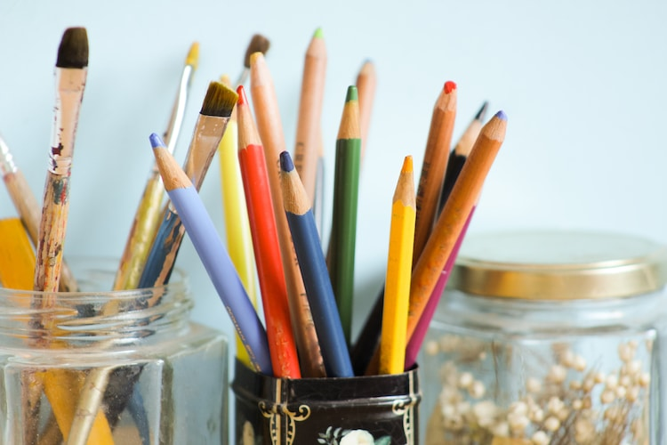 Art Supplies in Containers
