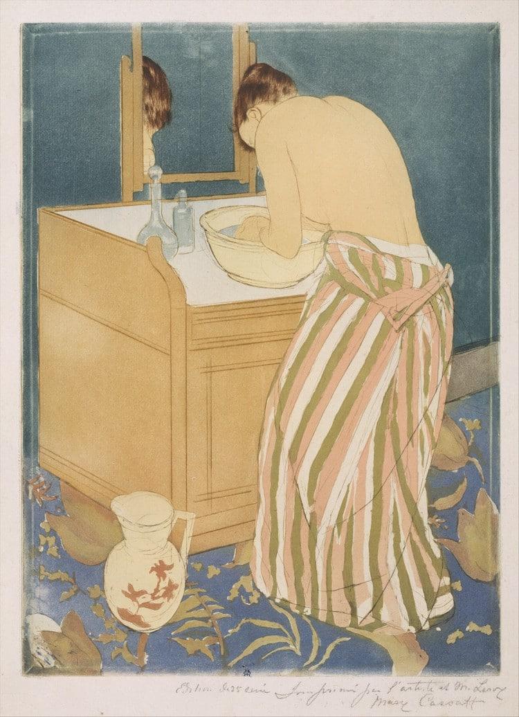 Mary Cassatt, mujer lavándose