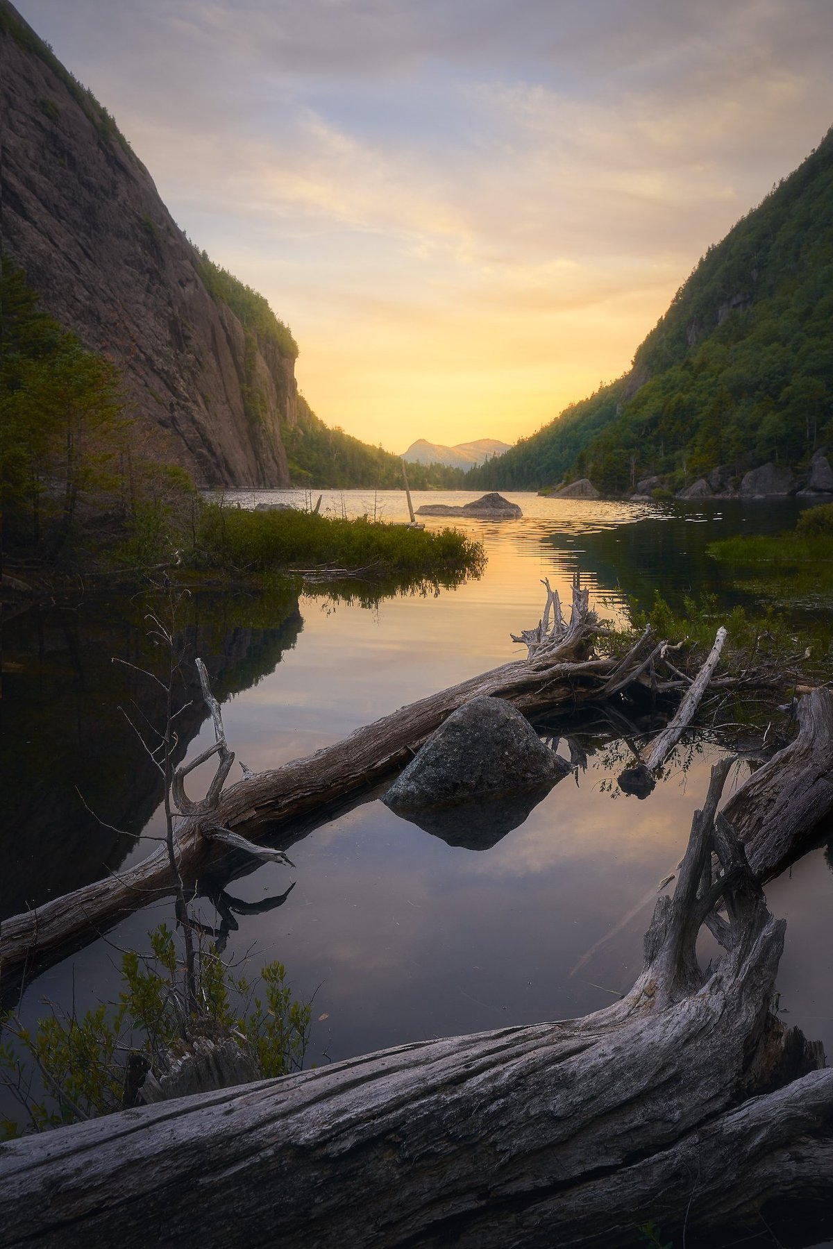Sunset from Avalanche Lake in Upstate New York