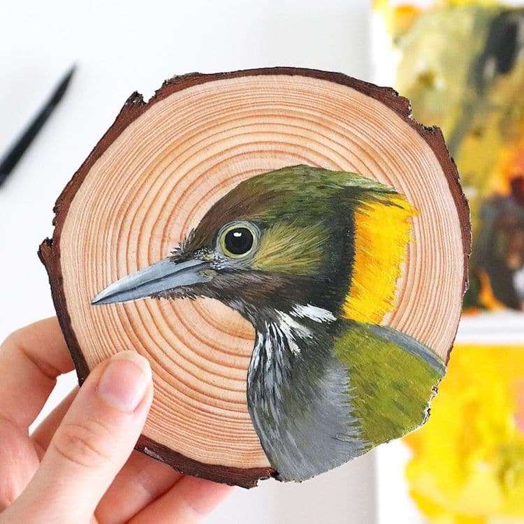Bird Paintings on Wood by Deanna Maree