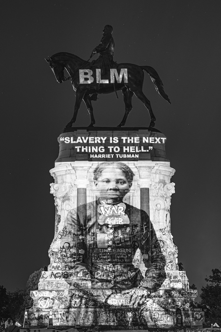 Harriett Tubman Projected on the Robert E Lee Memorial