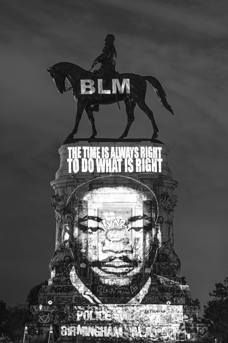 Martin Luther King Jr Projected on the Robert E Lee Memorial