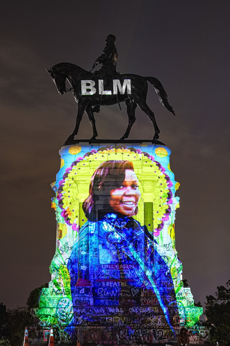Black Lives Matter Art Installation on the Robert E Lee Memorial