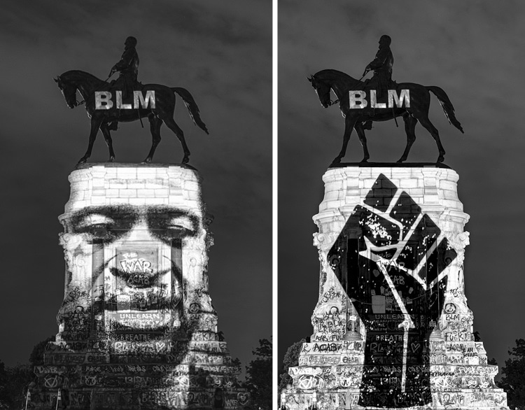 BLM Light Projections on the Robert E. Lee Memorial in Virginia