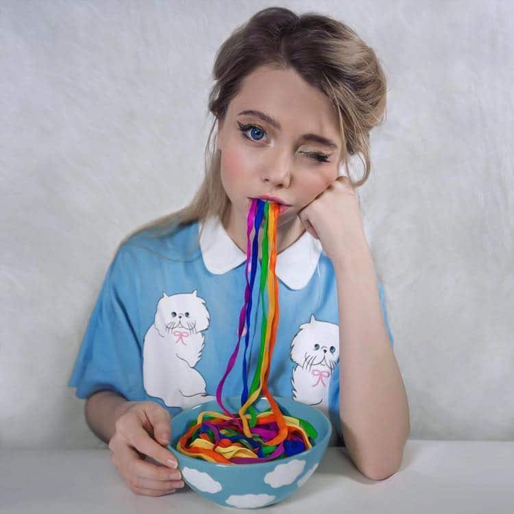 Surreal Photo of Girl with Colorful Yarn Coming from Her Mouth