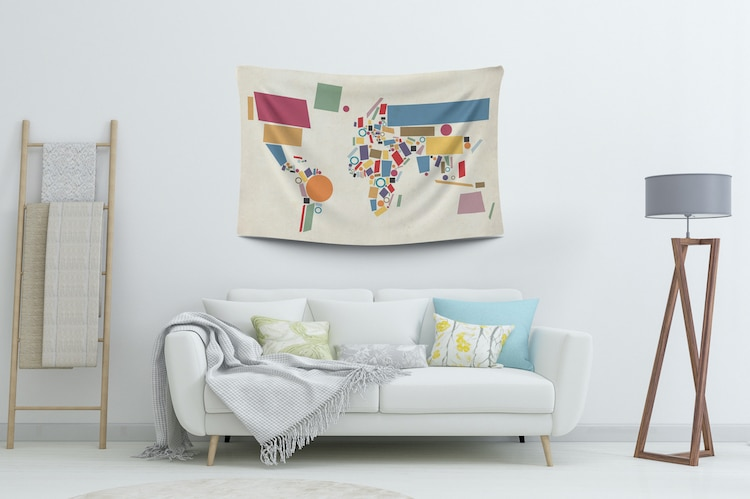 Contemporary Map Wall Tapestry