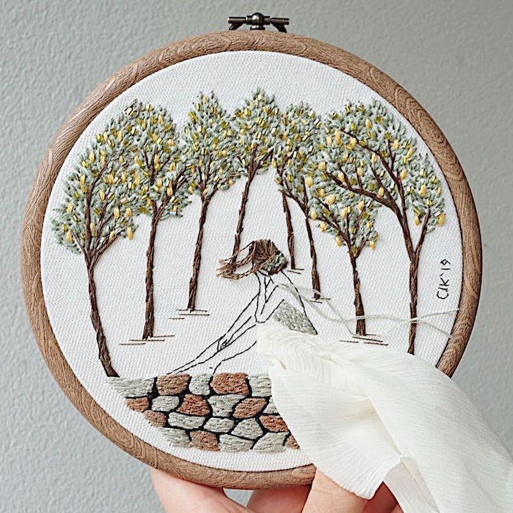 Contemporary Hoop Art by Kayra Handmade