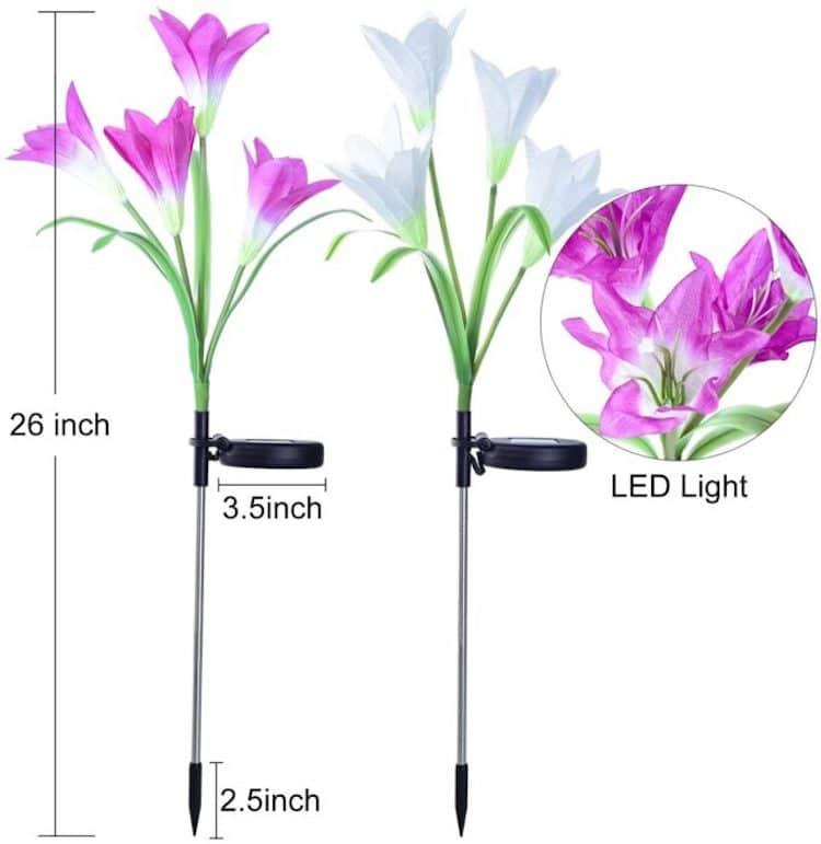 luces solares en forma de flor por Doingarte