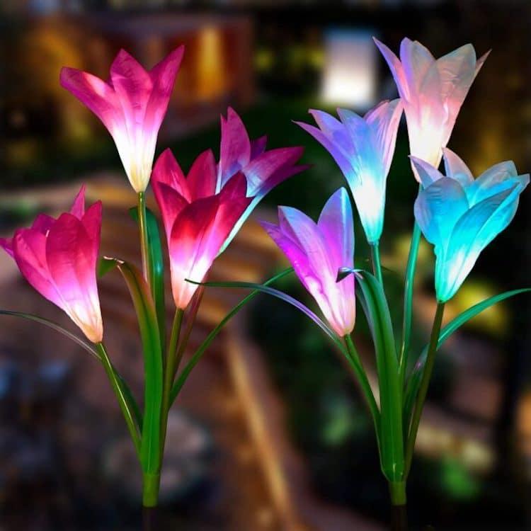 luces de flores para jardin por Doingarte