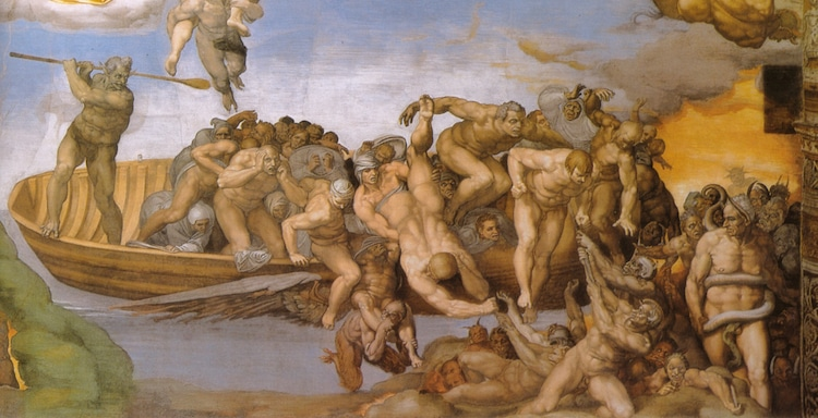Charon and the damned in Michelangelo's The Last Judgment
