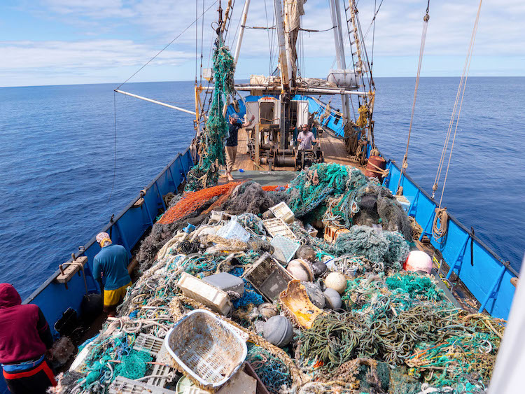 Boat Filled with Plastic Hauled from the Great Pacific Garbage Patch