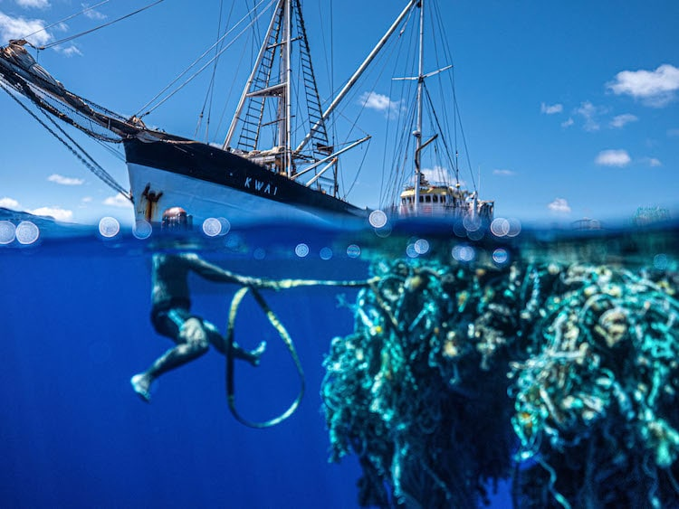 Diver from the Ocean Voyages Institute Hauling Plastic from the Great Pacific Garbage Patch