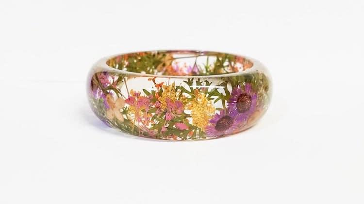 Bracelet Fleurs en Résine
