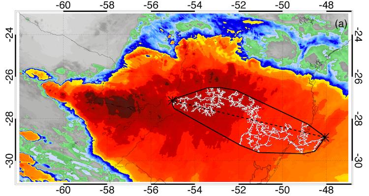 Imagen satelital del rayo de mayor alcance en la historia