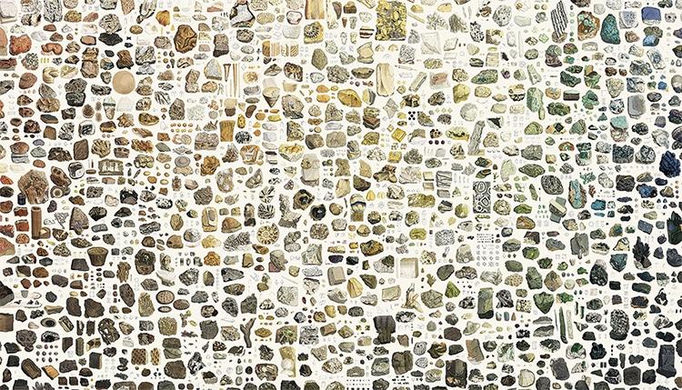 Collage digital de minerales por Nicholas Rougeux