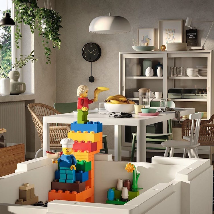 LEGO and IKEA made playful storage bin's that complement a space