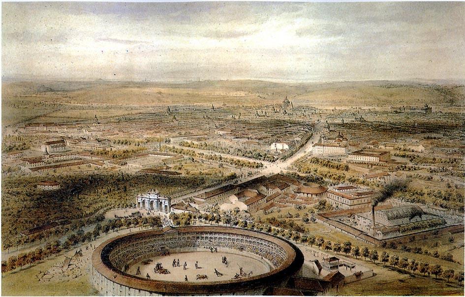 Dibujo de la Puerta de Alcalá en 1854