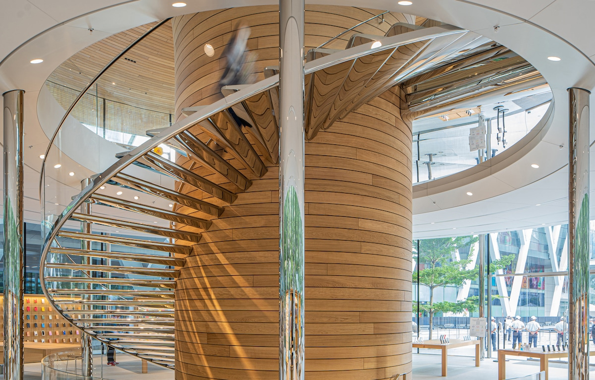 Spiral Staircase Inside the Bangkok Apple Store by Foster + Partners