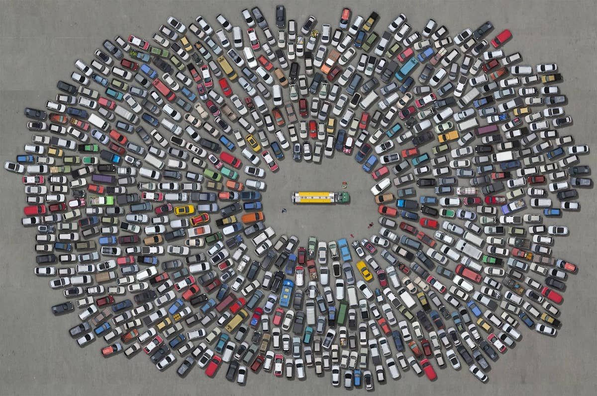 Cars Piled Up in a Parking Lot