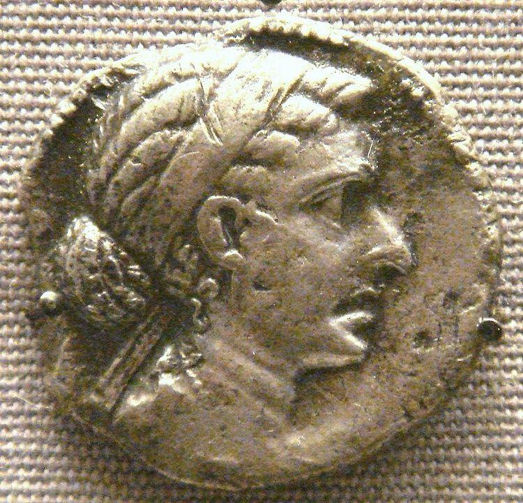 Retrato de Cleopatra en una moneda