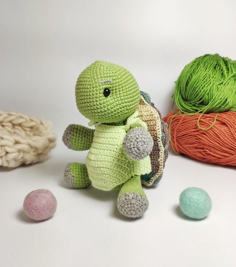 Crochet Toy Turtle With Removable Shell by Toysneed