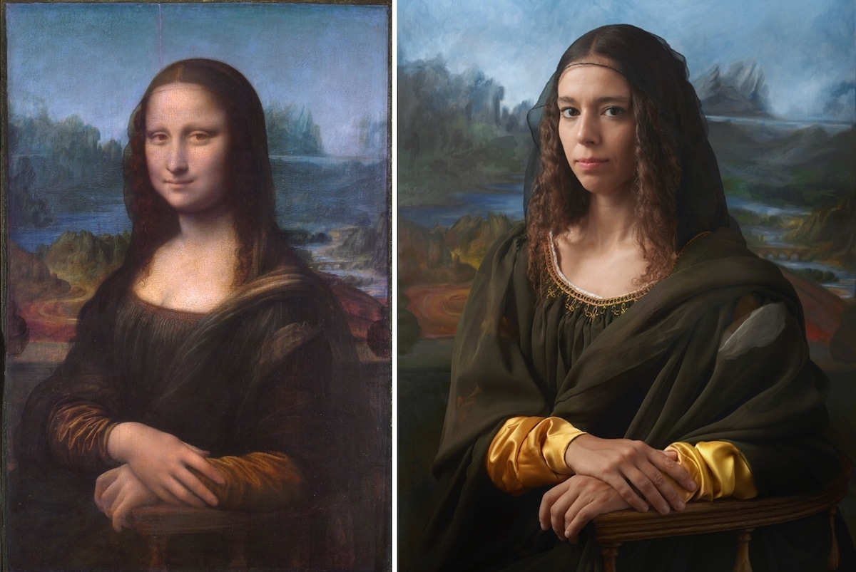 Mona Lisa Pictured Next to Her Living Descendent