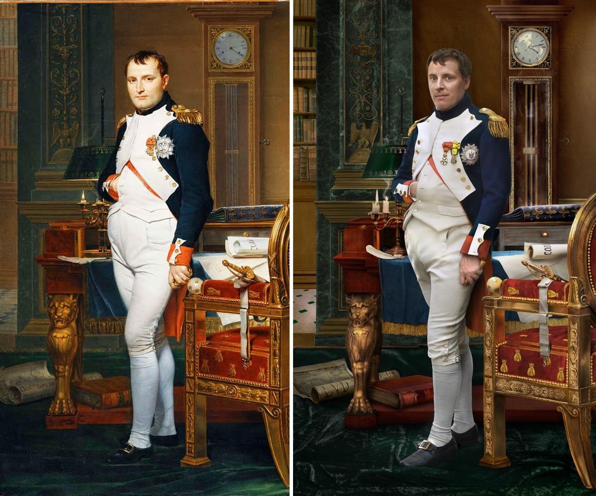 Retrato de Napoleón junto a una foto de su descendiente