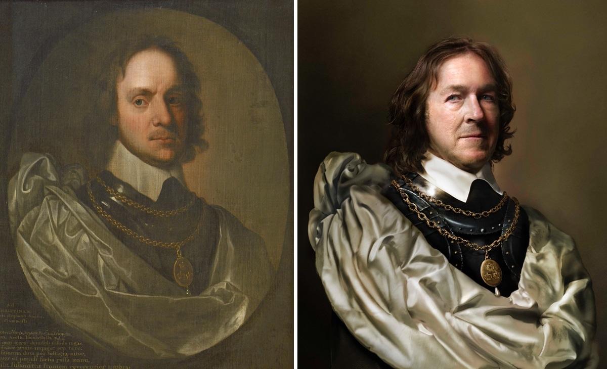 Retrato de Oliver Cromwell junto a su descendiente