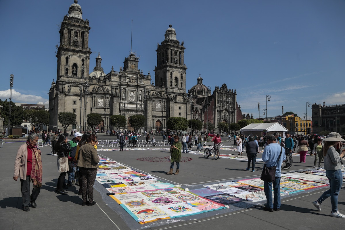 Patchwork Healing Blanket in Zocalo, Mexico City