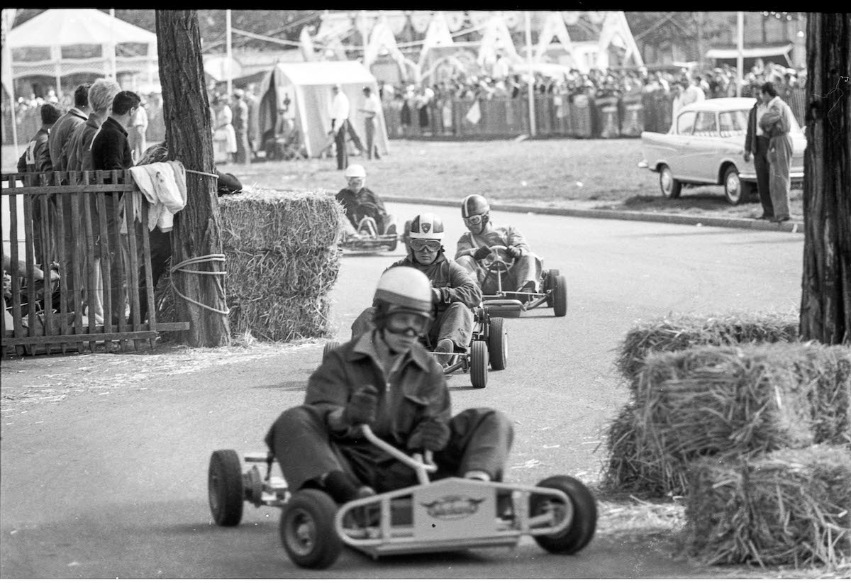 Vintage Photo of Men Riding in Go Karts